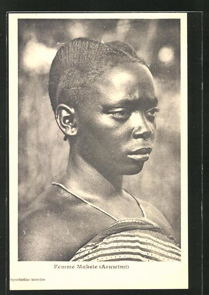 AK Femme Makele, afrikanische Volkstypen mit toller Frisur 0