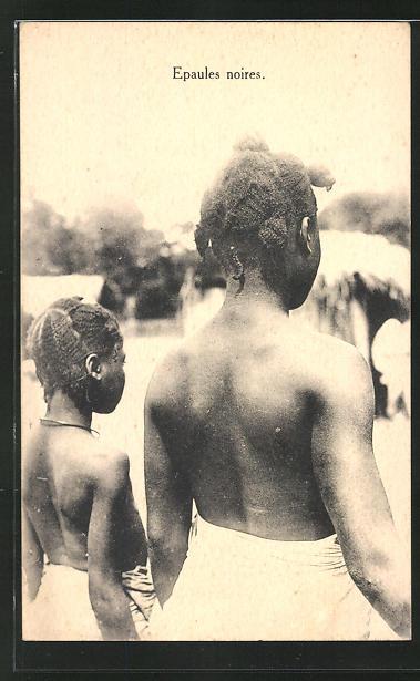 AK Congo-Belge, Epaules noires, afrikanische Volkstypen mit toller Frisur
