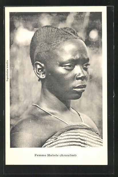 AK Femme Makele, afrikanische Volkstypen mit toller Frisur