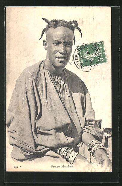 AK Femme Marabout, afrikanische Volkstypen mit toller Frisur 0