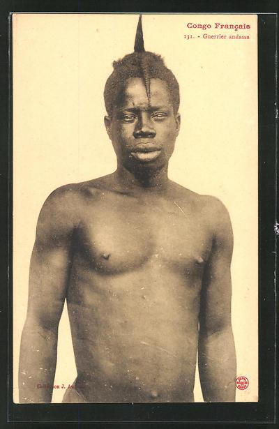 AK Congo Francais, Guerrier andassa, afrikanische Volkstypen mit toller Frisur