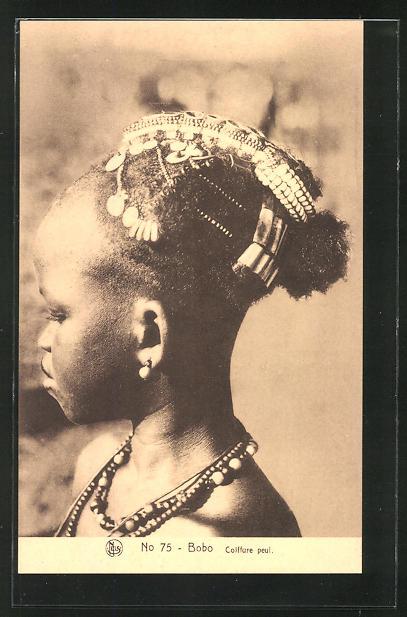 AK Bobo, Colffure peul, afrikanische Volkstypen mit toller Frisur 0