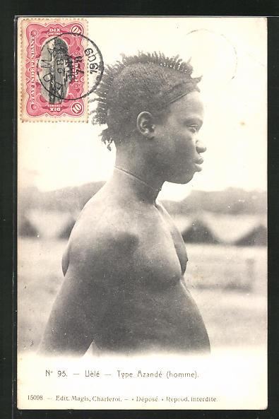 AK Uèlè, Type Azandè, afrikanische Volkstypen mit toller Frisur