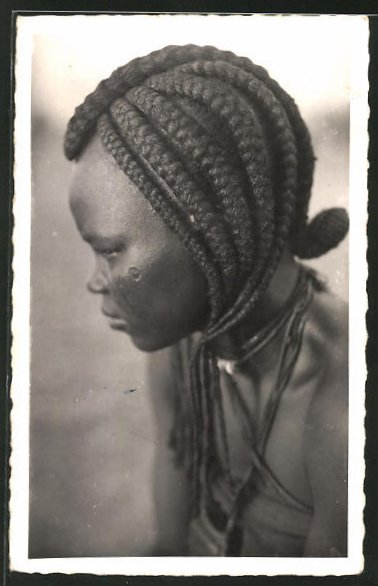 AK Tchad, Type de Femme de Fort-Lamy, afrikanische Volkstypen mit toller Frisur