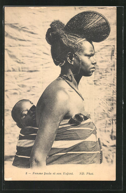 AK Femme foula et son Enfant, afrikanische Volkstypen mit toller Frisur 0