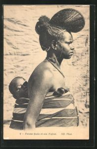 AK Femme foula et son Enfant, afrikanische Volkstypen mit toller Frisur