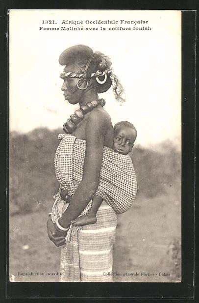 AK Femme Malinkè avec la coiffure foulah, afrikanische Volkstypen mit toller Frisur