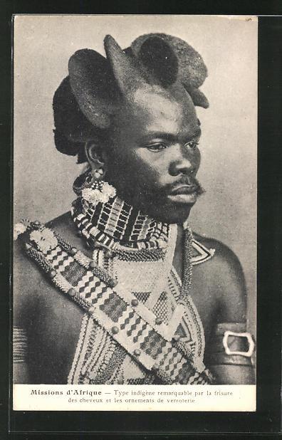 AK Type indigène remarquable par la frisure, afrikanische Volkstypen mit toller Frisur