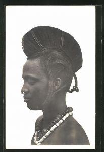 AK Femme Foulah, afrikanische Volkstypen mit toller Frisur