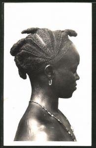 AK Cote d'Ivoire, Femme Guerret, afrikanische Volkstypen mit toller Frisur