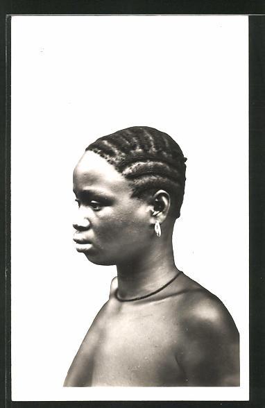 AK Cote d'Ivoire, Jeune Wobè, afrikanische Volkstypen mit toller Frisur 0