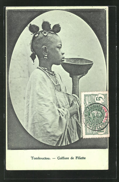 AK Tombouctou, Coiffure de Filiette, afrikanische Volkstypen mit toller Frisur