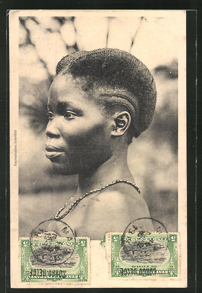 AK Congo-Belge, afrikanische Volkstypen mit toller Frisur