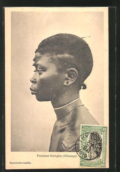 AK Femme Sangho, afrikanische Volkstypen mit toller Frisur