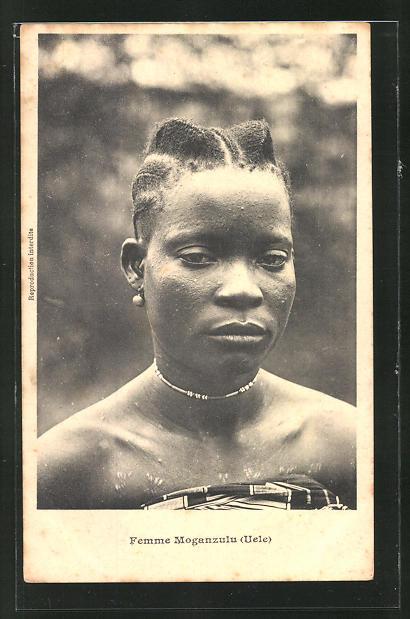 AK Femme Moganzulu, afrikanische Volkstypen mit toller Frisur 0