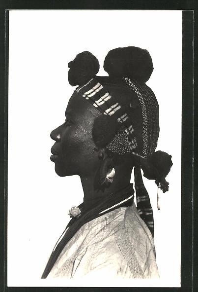 AK Soudan, Femme Daga, afrikanische Volkstypen mit toller Frisur