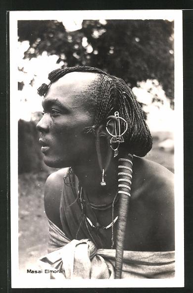 AK Masai Elmoran, afrikanische Volkstypen mit toller Frisur