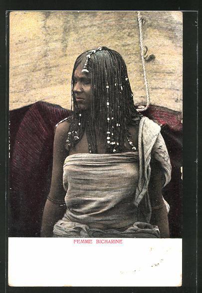 AK Femme Bicharine, afrikanische Volkstypen mit toller Frisur 0