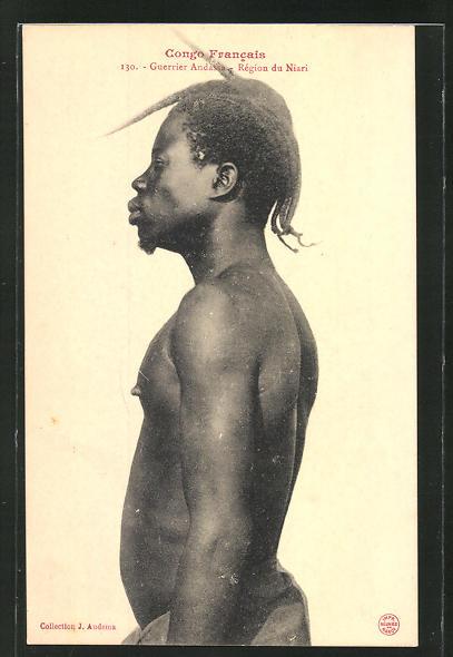AK Congo Francais, Guerrier Andassa, afrikanische Volkstypen mit toller Frisur 0