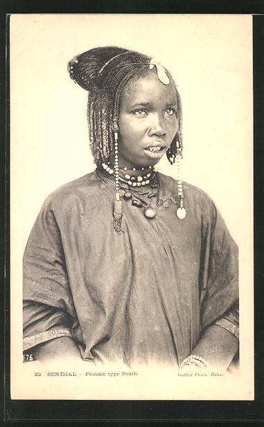 AK Senègal, Femme type Peulh, afrikanische Volkstypen mit toller Frisur