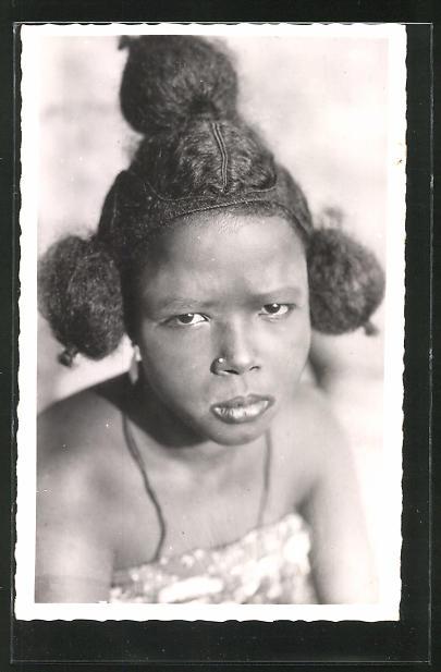 AK Cameroun, Femme Foulbè, afrikanische Volkstypen mit toller Frisur