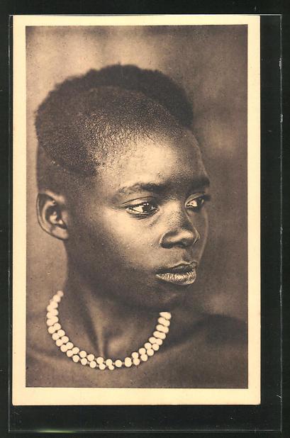AK Ruanda, Tète de jeune fille, afrikanische Volkstypen mit toller Frisur