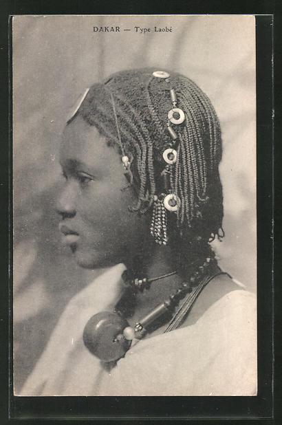 AK Dakar, Type Laobe, afrikanische Volkstypen mit toller Frisur