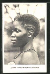 AK Femme Manyema, afrikanische Volkstypen mit toller Frisur