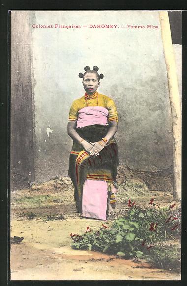 AK Dahomey, Femme Mina, afrikanische Volkstypen mit toller Frisur