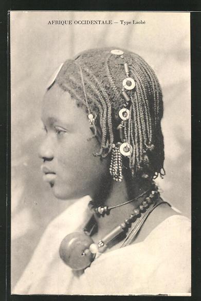 AK Type Laobè, afrikanische Volkstypen mit toller Frisur