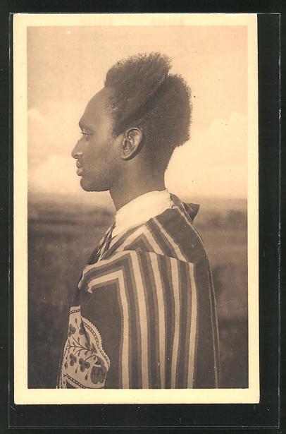 AK Ruanda, Type de Mututsi, afrikanische Volkstypen mit toller Frisur