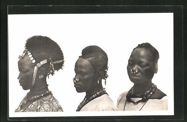 AK Femmes Kado, typische afrikanische Frisuren mit Haarschmuck 0
