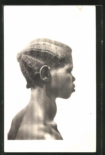 AK Cote d'Ivoire, Femme Guerret, afrikanische Frau mit Flechtfrisur 0