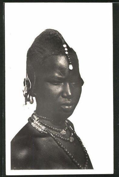 AK Hte-Volta, Femme Toucouleurs, afrikanische Frau mit Haarschmuck