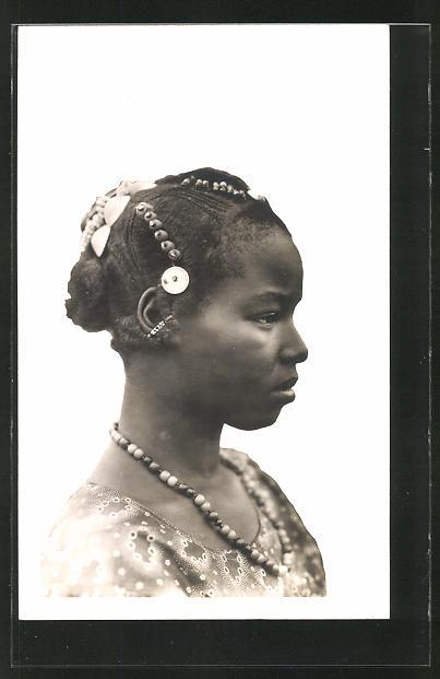 AK Hte-Volta, Femme Toucouleurs, afrikanische Frau mit Flechtfrisur und Schmuck