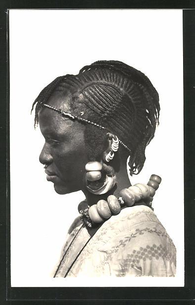 AK Hte-Volta, Femme Taoucouleurs, Afrikanische Frau mit Haarschmuck und Flechtfrisur