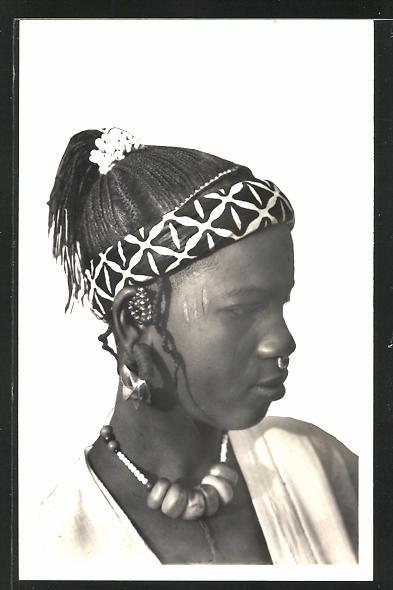 AK Hte-Volta, Femme Toucouleurs, Afrikanische Frau mit Flechtfrisur und Nasenring