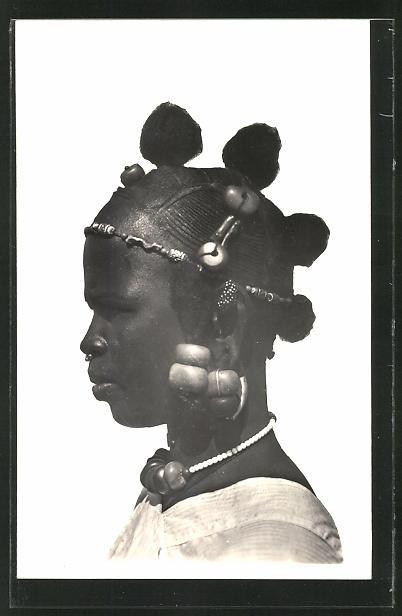 AK Hte-Volta, Femme Sonraye, afrikanische Frau mit Kopfschmuck und Flechtfrisur