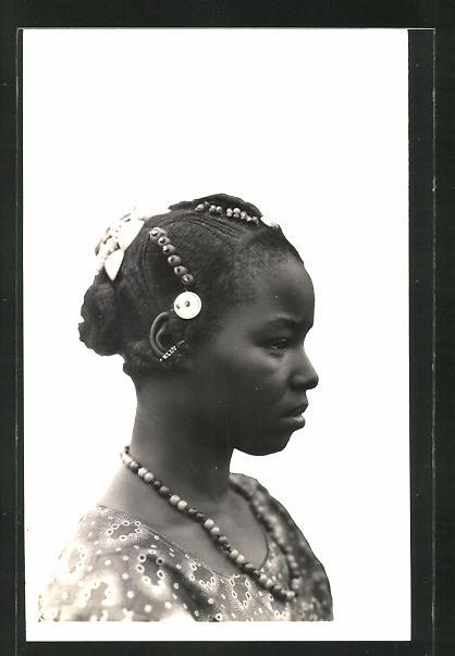 AK Hte-Volta, Jeune Toucouleurs, junge Afrikanerin mit Flechtfrisur und Kopfschmuck