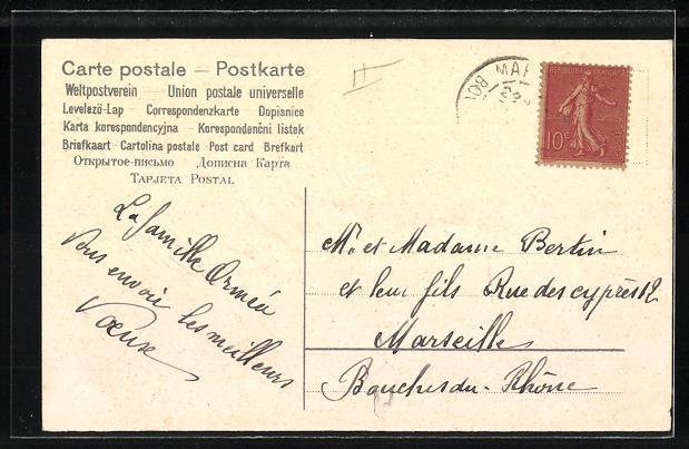 Präge-AK Tauben mit Brief an Vergissmeinnicht 1