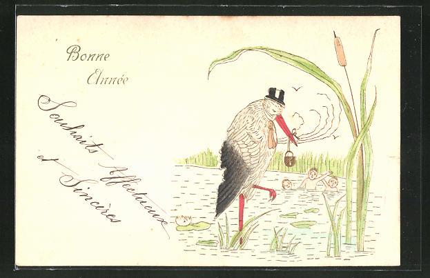 Präge-AK Ein Storch im See