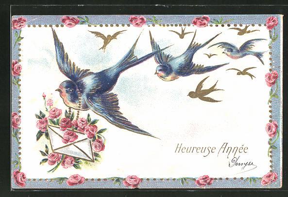 Präge-AK Schwalben mit einem Brief von Rosen geschmückt