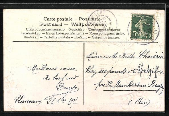 Präge-AK Schwalben mit einem Brief von Rosen geschmückt 1