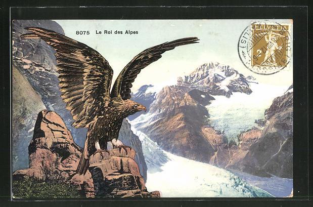 AK Ein Adler in den Alpen