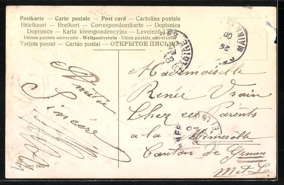 Präge-AK Schwalbe mit Brief im Schnabel 1