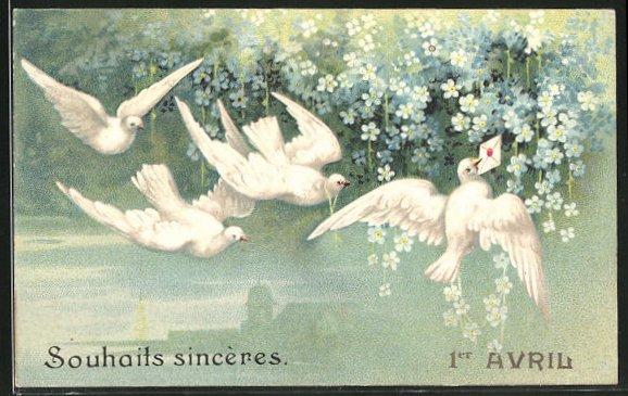 Präge-AK Tauben mit einem Brief an Vergissmeinnicht
