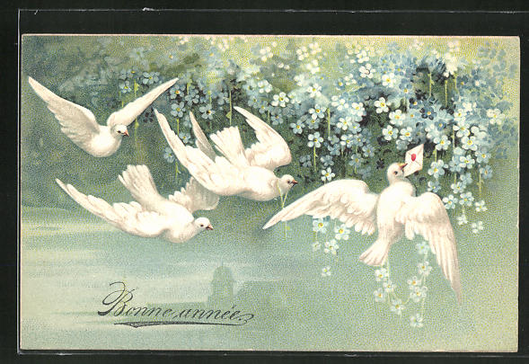 Präge-AK Tauben mit einem Brief an Vergissmeinnicht 0