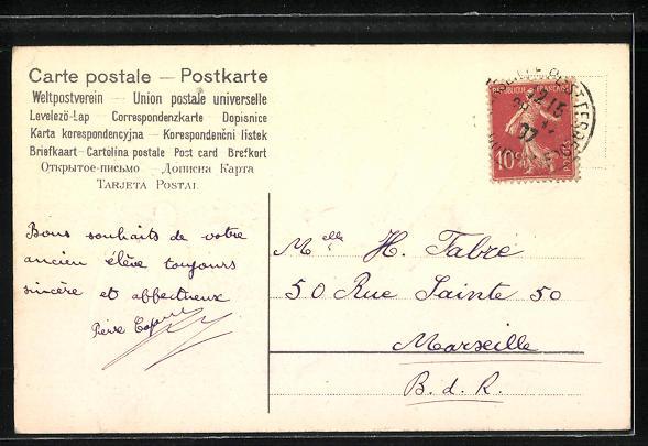Präge-AK Tauben mit einem Brief an Vergissmeinnicht 1