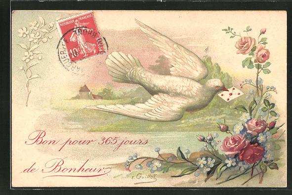 AK Taube mit Brief im Schnabel beim Anflug 0