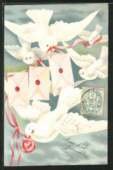 Präge-AK Tauben mit Briefen an einem Band
